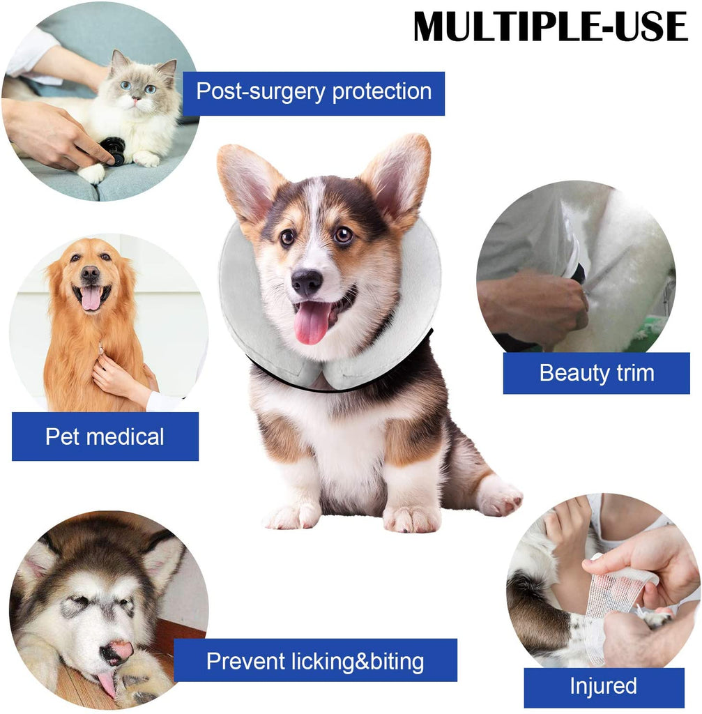 WANTRYAPET Protective Inflatable Collar, Inflatable Comfy Cone for Dogs and Cats, Soft Dog Cone After Surgery Pet Recovery Collar - INNO STAGE