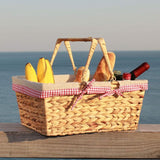 Water Hyacinth Woven Picnic Basket with Double Folding Handles Red/White Plaid Linen Liner - INNO STAGE