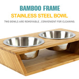 "3"" High Bamboo Elevated Dog Cat Dog Feeder with 2 Stainless Steel Bowls, Raised Stand Pet Feeder Perfect for Small Dogs & Cats - INNO STAGE"