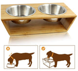 "4"" High Bamboo Elevated Dog Cat Dog Feeder with 2 Stainless Steel Bowls, Raised Stand Pet Feeder Perfect for Small Dogs & Cats - INNO STAGE"