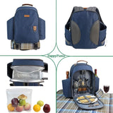 HappyPicnic 2 Persons Insulated Picnic Backpack with Full Set of Tablewares-Navy Blue - INNO STAGE