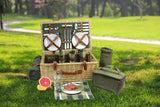 Large Wicker Picnic Basket for 4 with Deluxe Service Set - Cooler, Wine Cooler, Free Fleece Blanket and Tableware - INNO STAGE