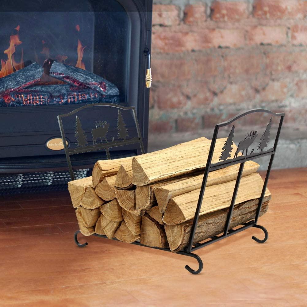 INNO STAGE Firewood Log Rack Double Layer with Fireplace 4 Tools Set Fire Wood Bin Holder for Indoor Outdoor Tool Kit Storage No Screws are Required for Assembly !