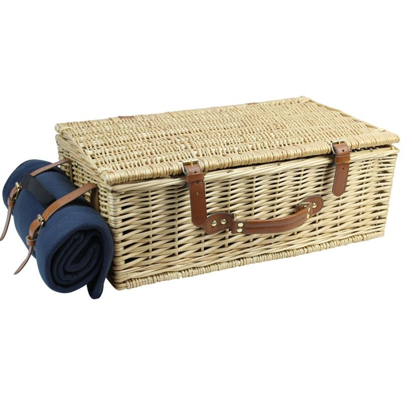 4 Person Natural Wicker Picnic Hamper Basket Deluxe Service Set - INNO STAGE