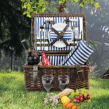 2 Person Picnic Willow Hamper Navy Stripe - INNO STAGE