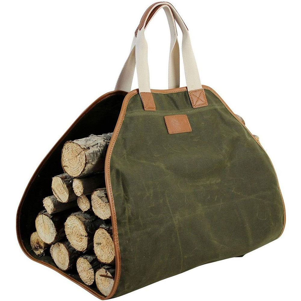 Waxed Canvas Log Carrier Tote Bag Green May Arrive After Christmas Inno Stage