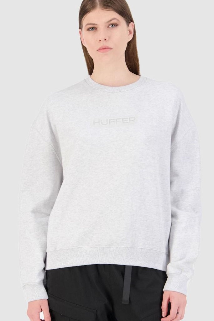 Huffer Womens Premiere Crew White Marle