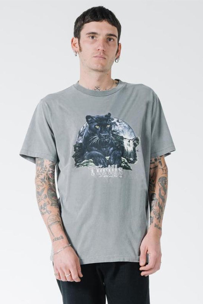 Thrills Black Moon Merch Fit Tee - Washed Grey