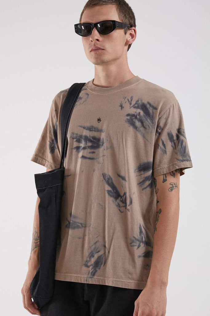 Afends White Light Retro Fit Tee Black Sand Tie Dye