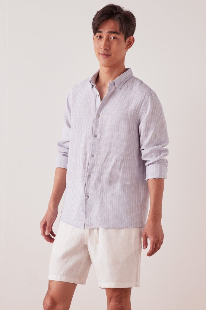 Assembly Casual L/S Shirt Seamist Stripe