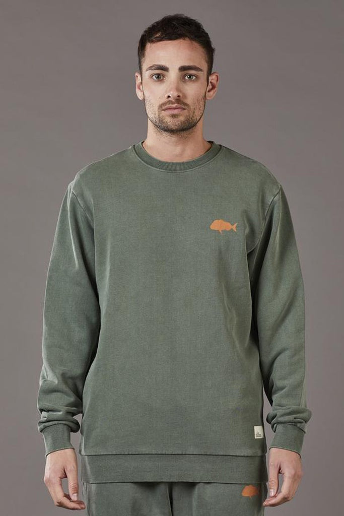 Just Another Fisherman Snapper Stamp Crew Forest Green