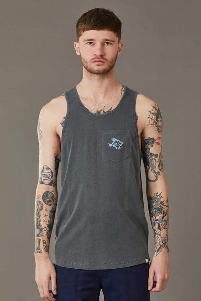 Just Another Fisherman Dory Singlet Aged Black