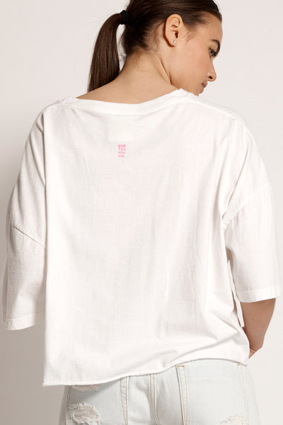 One Teaspoon Broke and Famous Crop Tee White