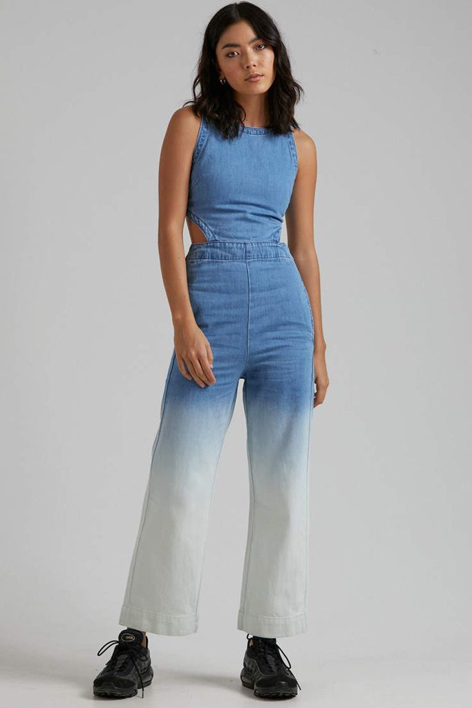 Afends Georgia Hemp Denim Jumpsuit Classic Blue Fade