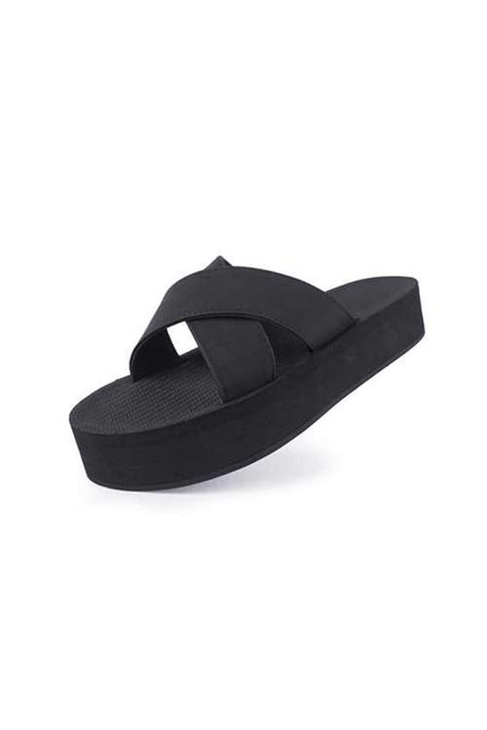 Indosole Womens Platform Cross Black