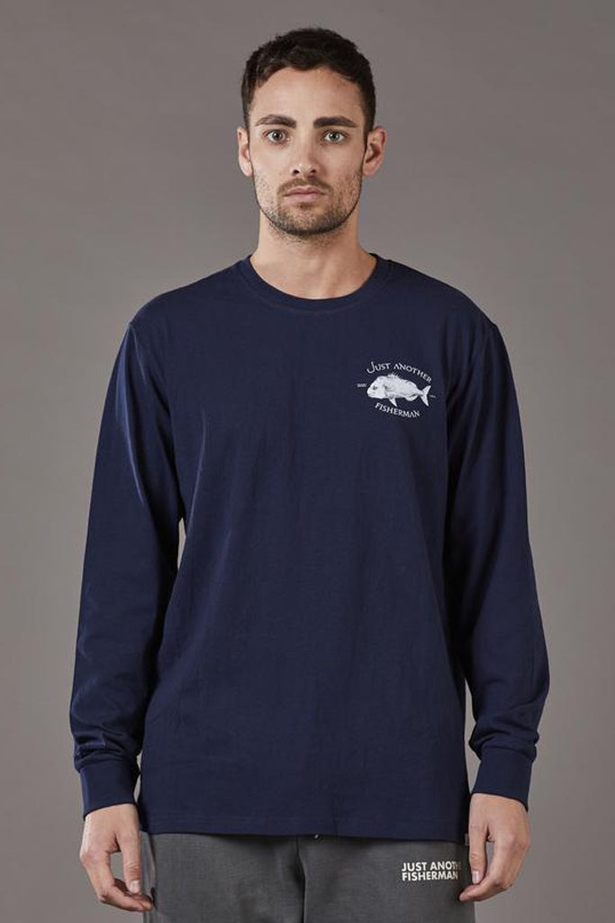 Just Another Fisherman Snapper Logo LS Tee Navy