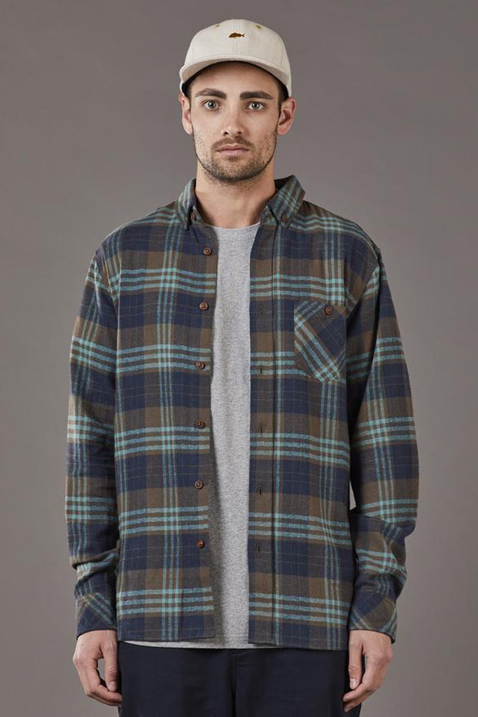 Just Another Fisherman Boatyard Shirt Olive Blue