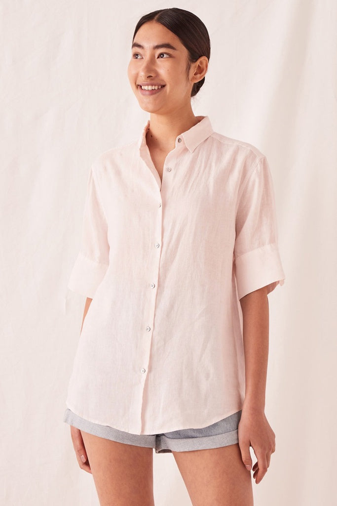 Assembly Womens Short Sleeve Shirt Pink Dew