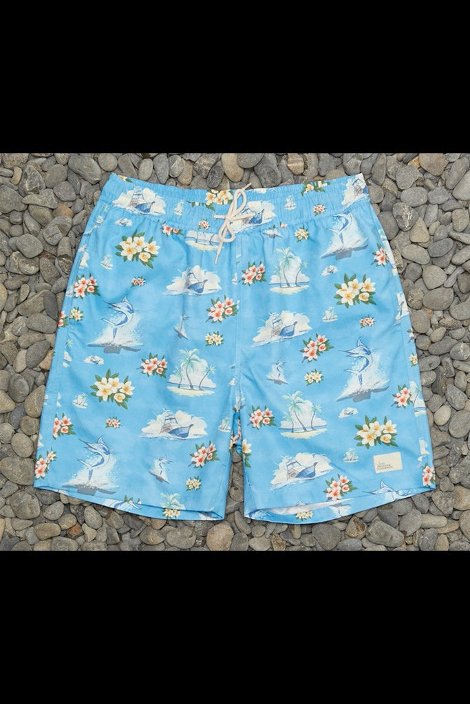 Just Another Fisherman Floral Marlin Shorts Blue