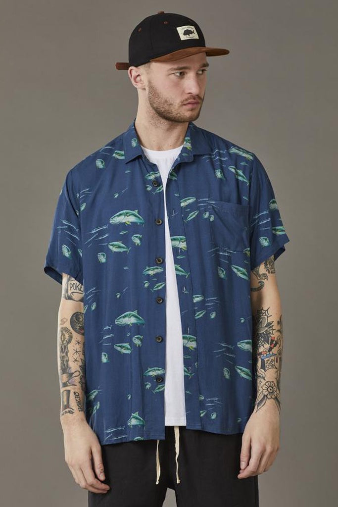 Just Another Fisherman Pack Attack S/S Shirt Navy