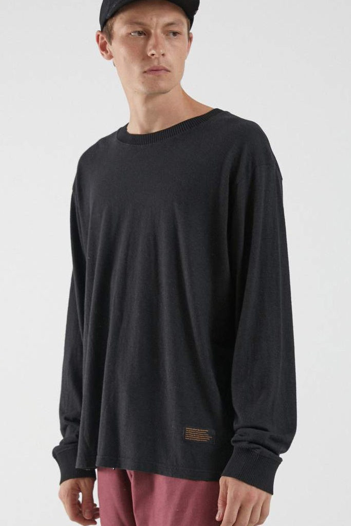 Afends Essential Hemp Retro Fit Long Sleeve Tee Black