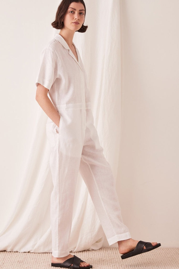 Assembly Blair Linen Boilersuit White