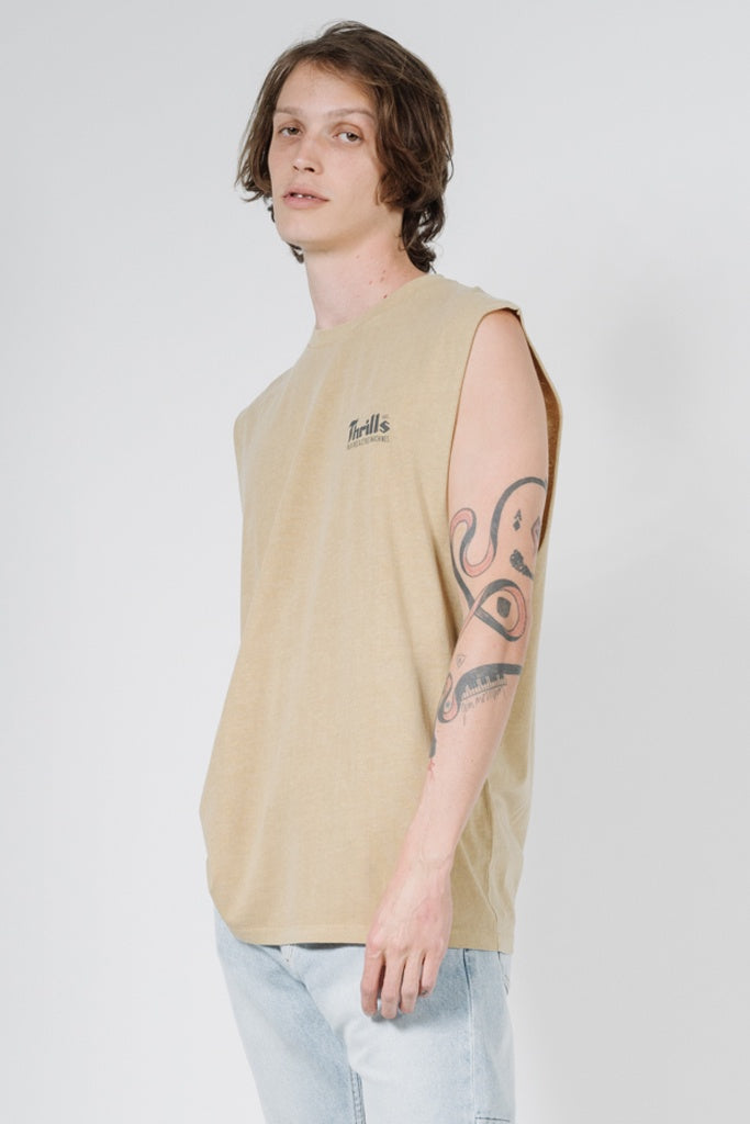 Thrills Wellness Merch Fit Muscle Faded Gold