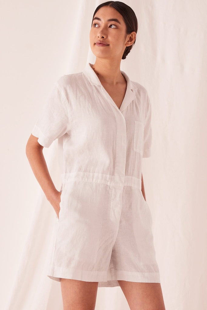 Assembly Blair Linen Playsuit Silver Grey