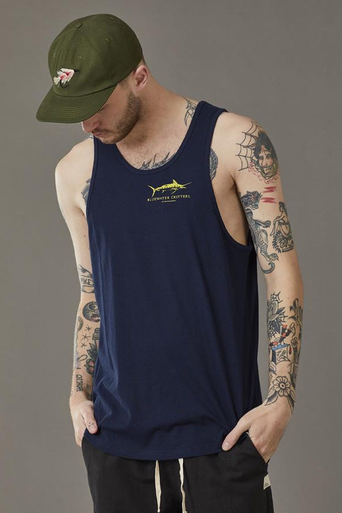 Just Another Fisherman Bluewater Critters Singlet Navy
