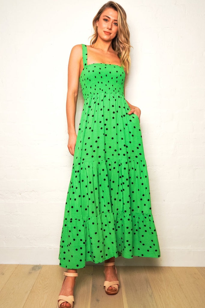 The Others Shirred Maxi Dress Green Polka