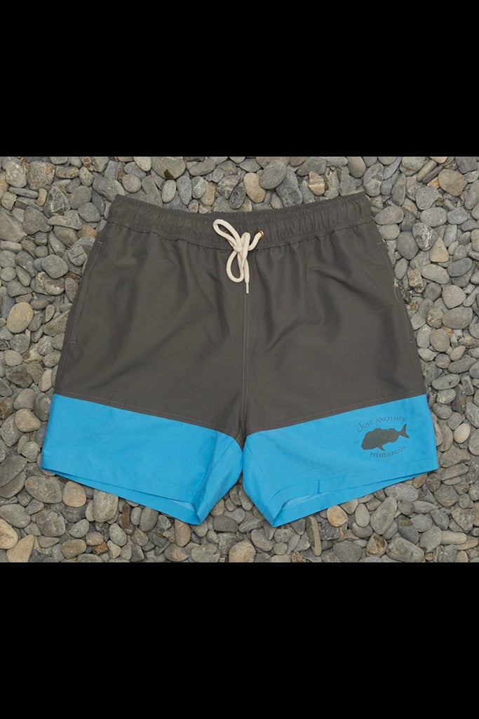 Just Another Fisherman Snapper Logo Shorts Grey Blue