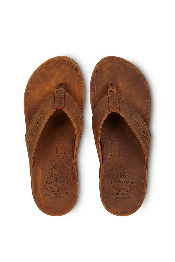 Kustom Cruiser Leather Sandal Brown