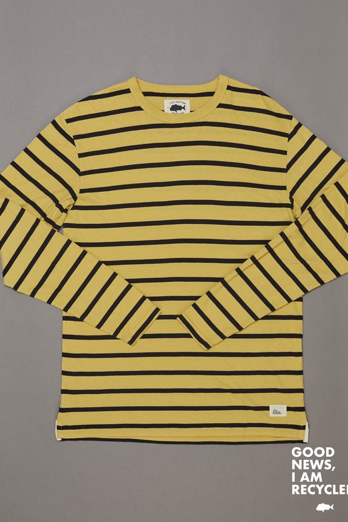 Just Another Fisherman Rough Seas L/S Tee Washed Yellow Black