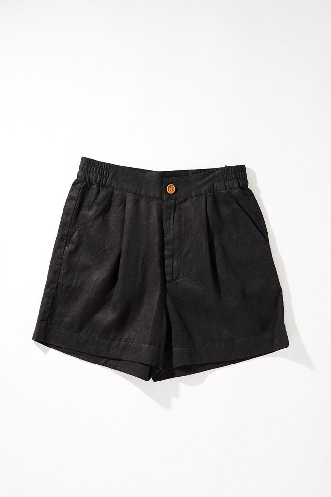Afends Jen Hemp Ruched Short Black