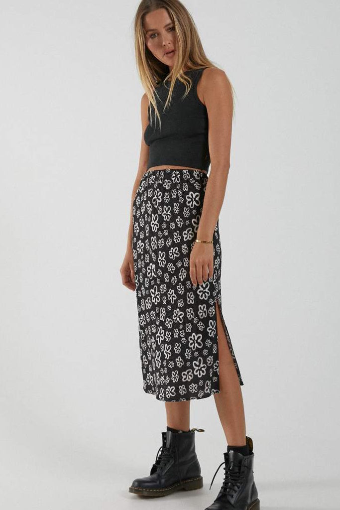Afends Lola Hemp Midi Skirt Black