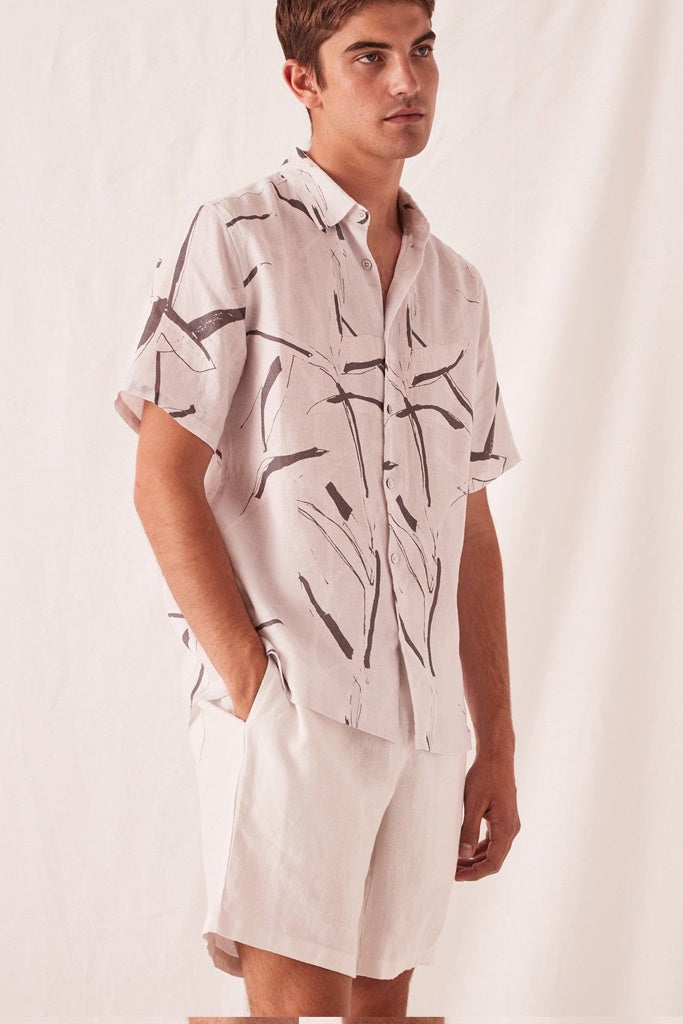 Assembly Casual Short Sleeve Shirt Summer Bamboo Print