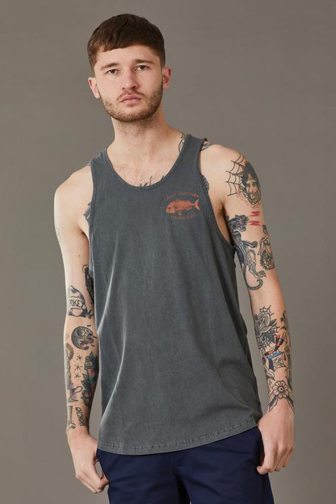 Just Another Fisherman Snapper Logo Singlet Aged Black