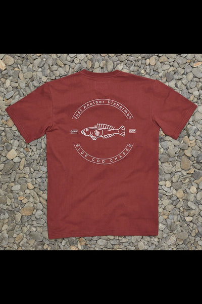 Just Another Fisherman Blue Cod Chaser Tee Maroon