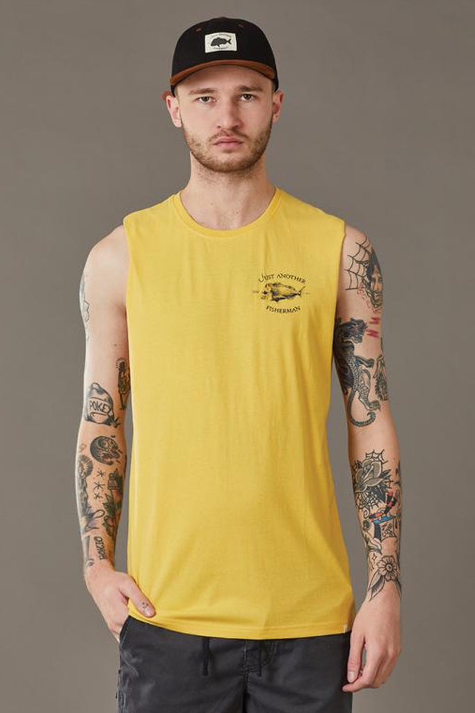 Just Another Fisherman Snapper Logo Tank Washed Yellow