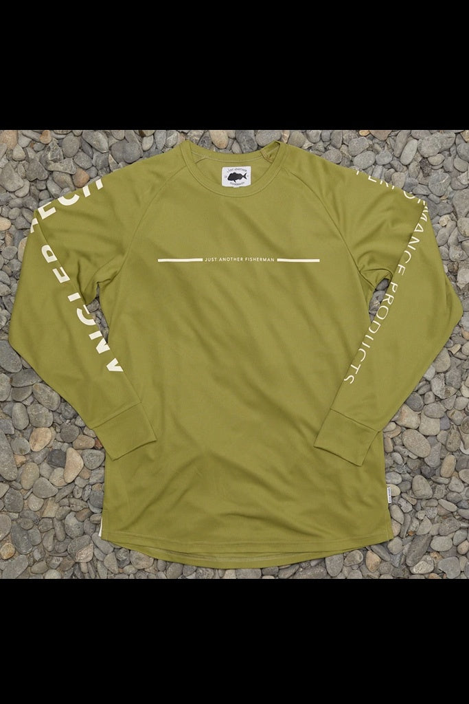 Just Another Fisherman Angler Tech LS Tee Light Khaki