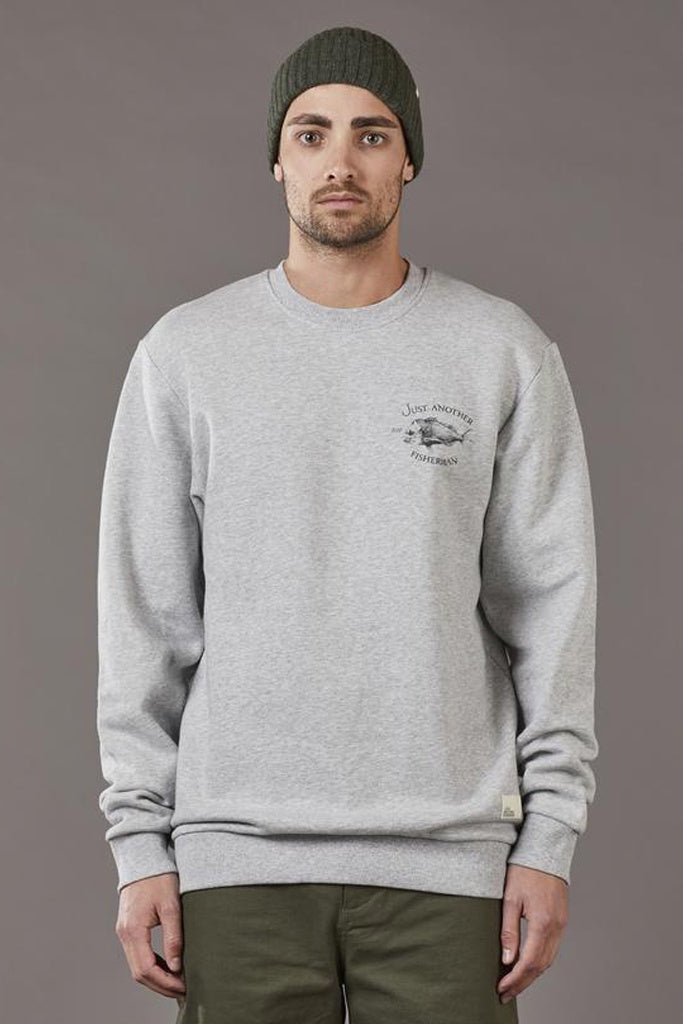 Just Another Fisherman Snapper Logo Crew Grey Marle