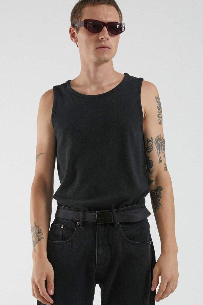 Afends Foundation Hemp Rib Singlet Black