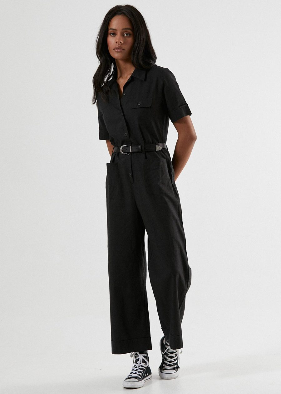Afends Harriet Hemp Jumpsuit Black