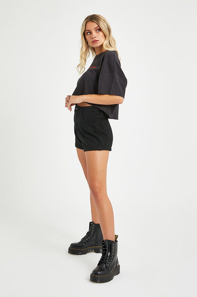 Abrand A High Relaxed Short Overdyed Black