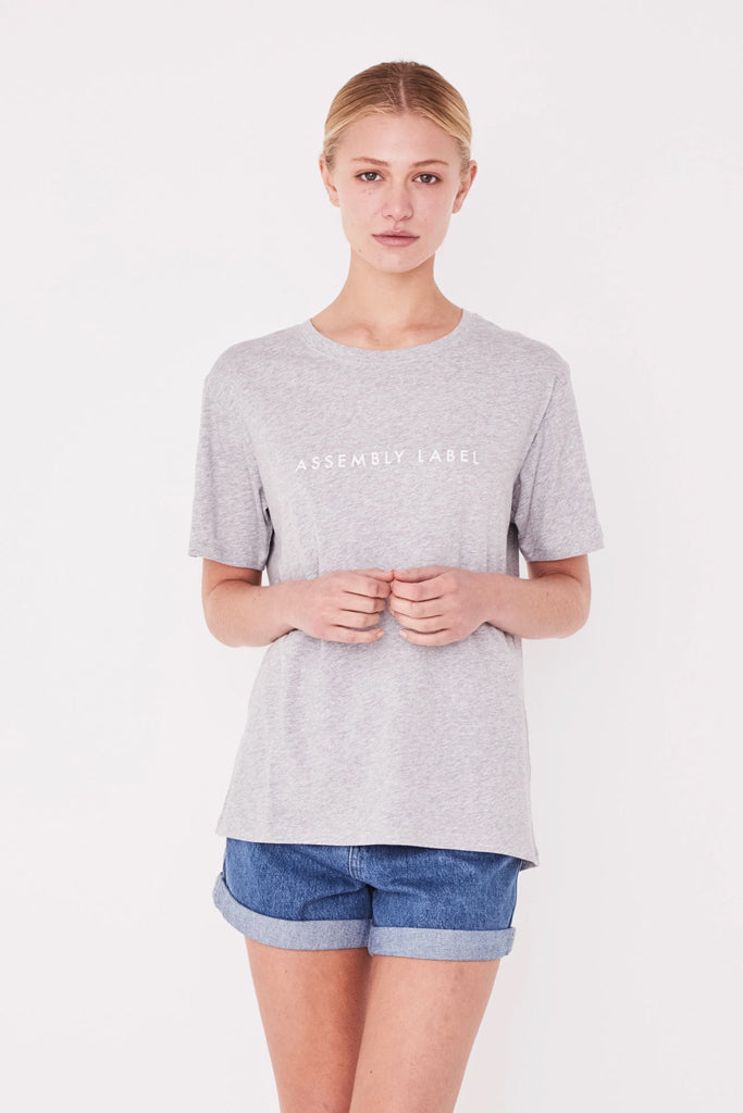 Assembly Logo Cotton Crew Tee Grey Marle