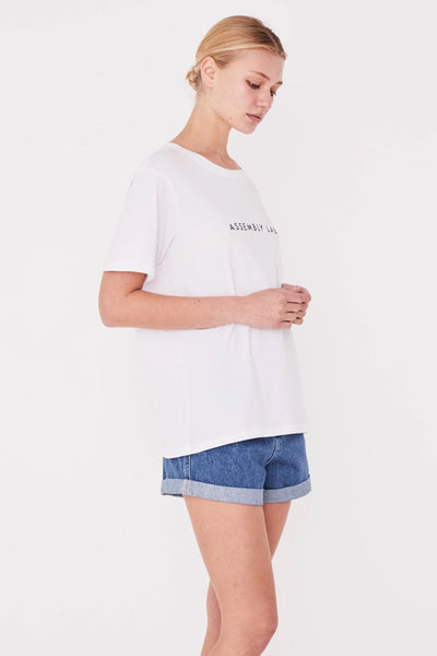 Assembly Logo Cotton Crew Tee White