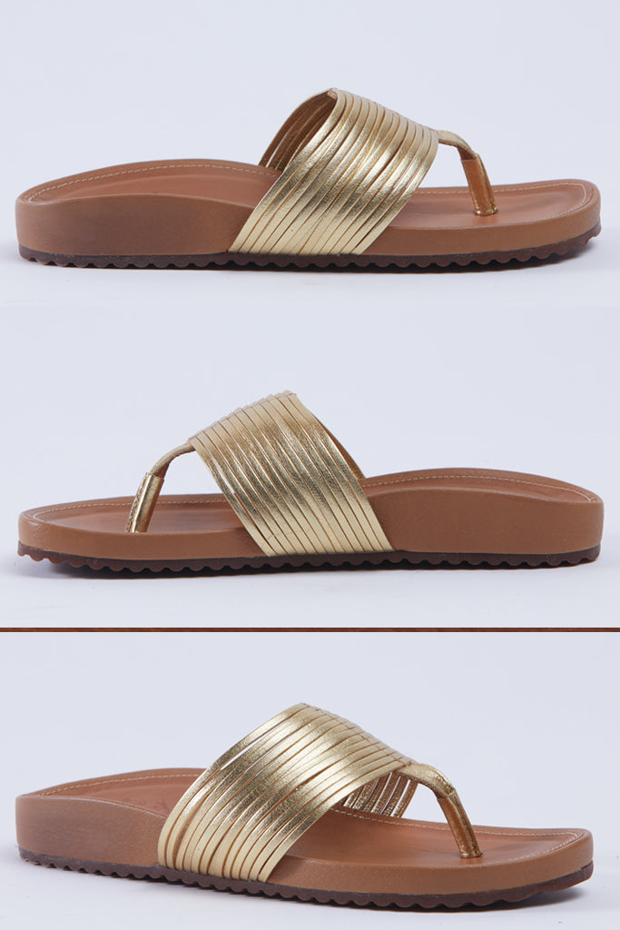 Hey Monday Fabio Sandal Gold Leather