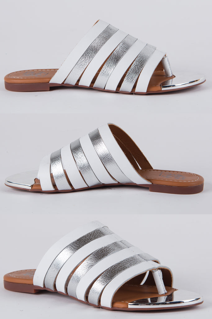 Hey Monday Stephine Sandal White Silver Leather