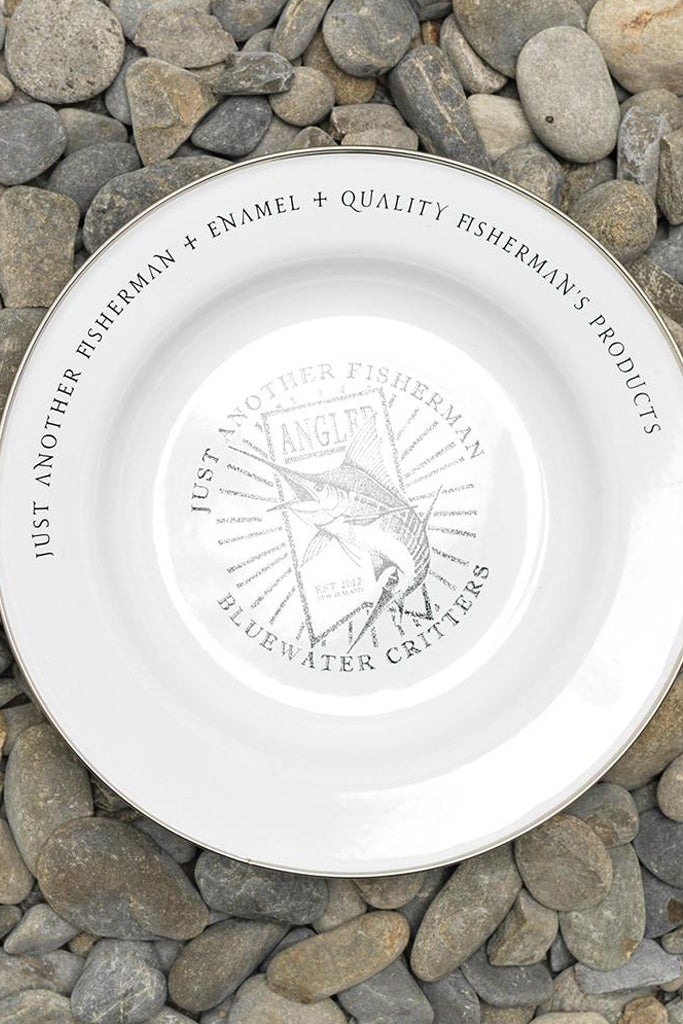 Just Another Fisherman Dot Marlin Plate White Black