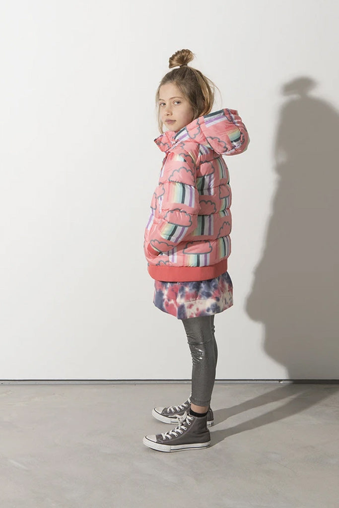 Minti Raining Rainbows Ultimate Puffa Jacket Coral